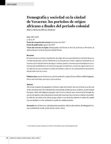 Demografía y sociedad en la ciudad de Veracruz: los porteños de origen africano a finales del periodo colonial
