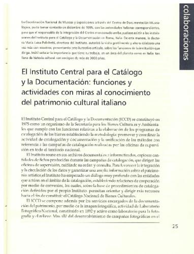 El Instituto Central para el Catálogo y la Documentación. funciones y actividades con miras al conocimiento del patrimonio