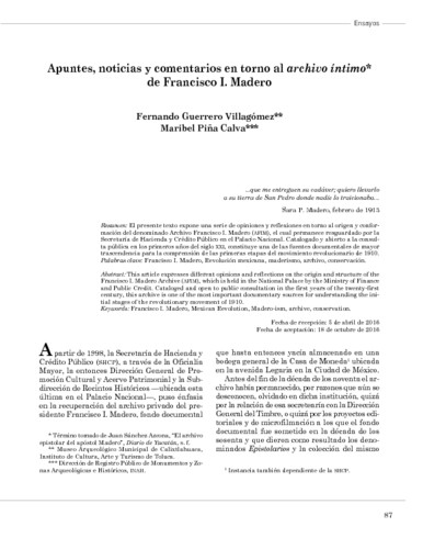 Apuntes, noticias y comentarios en torno al archivo íntimo de Francisco I. Madero