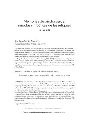 Memorias de piedra verde: miradas simbólicas de las reliquias toltecas