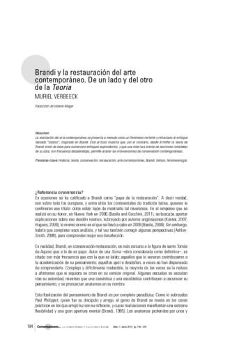 Brandi y la restauración del arte contemporáneo. De un lado y del otro de la Teoria