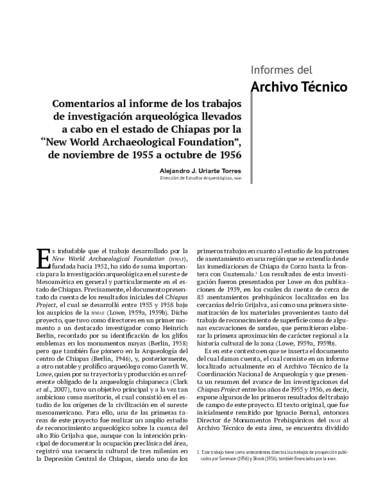 """Comentarios al informe de los trabajosde investigación arqueológica llevados a cabo en el estado de Chiapas por la""""New World Archaeological Foundation"""", de noviembre de 1955 a octubre de 1956"""