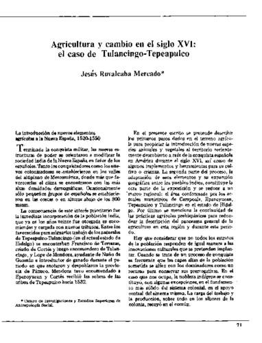 Agricultura y cambio en el siglo XVI: el caso de Tulancingo-Tepeapulco