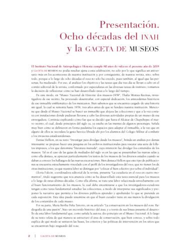 Presentación. Ocho décadas del INAH y la Gaceta de Museos