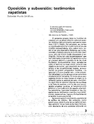 Oposición y subversión: testimonios zapatistas