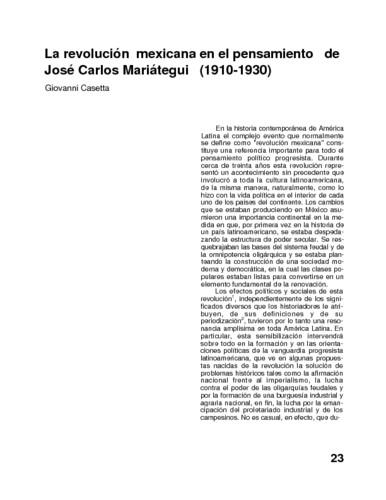 La revolución mexicana en el pensamiento de José Carlos Mariátegui (1910-1930)