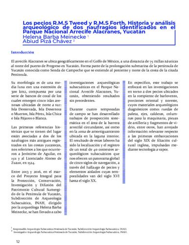 Los pecios R.M.S Tweed y R.M.S Forth. Historia y análisis arqueológico de dos naufragios identificados en el Parque Nacional Arrecife Alacranes, Yucatán