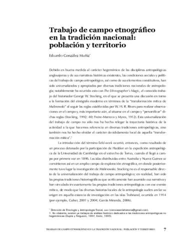 Trabajo de campo etnográfico en la tradición nacional: población y territorio
