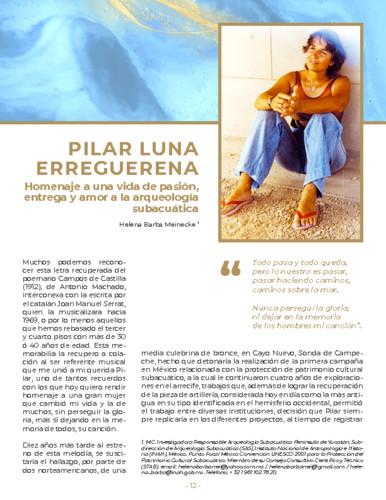 Pilar Luna Erreguerena. Homenaje a una vida de pasión, entrega y amor a la arqueología subacuática