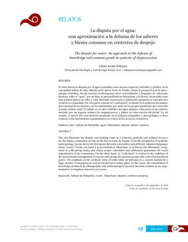 La disputa por el agua: una aproximación a la defensa de los saberes y bienes comunes en contextos de despojo