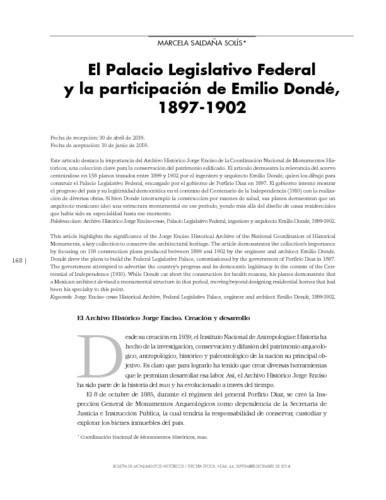 El Palacio Legislativo Federal y la participación de Emilio Dondé, 1897-1902