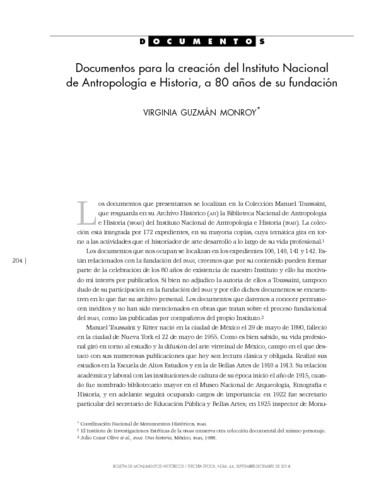Documentos para la creación del Instituto Nacional de antropología e Historia, a 80 años de su fundación