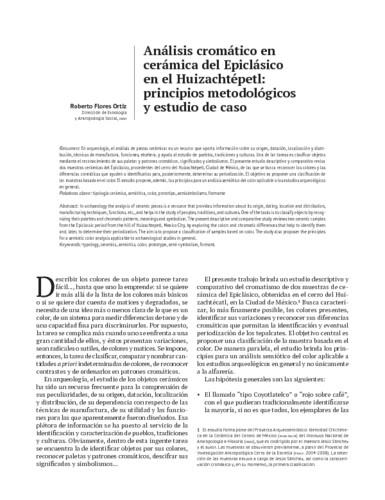 Análisis cromático en cerámica del Epiclásico en el Huizachtépetl: principios metodológicos y estudio de caso