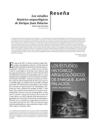 Los estudios histórico-arqueológicos de Enrique Juan Palacios