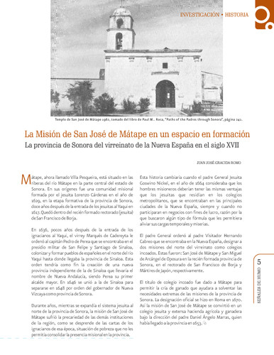 La Misión de San José de Mátape en un espacio en formación. La provincia de Sonora del virreinato de la Nueva España en el siglo XVII