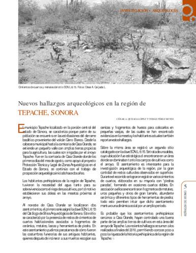Nuevos hallazgos arqueológicos en la región de Tepache, Sonora