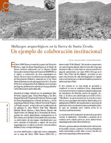 Hallazgos arqueológicos en la Sierra de Santa Úrsula. Un ejemplo de colaboración institucional