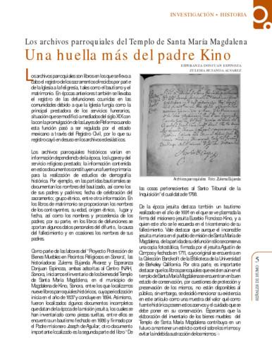 Los archivos parroquiales del Templo de Santa María Magdalena. Una huella más del padre Kino