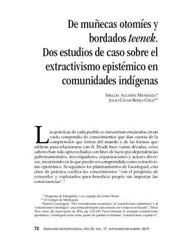 De muñecas otomíes y bordados teenek. Dos estudios de caso sobre el extractivismo epistémico en comunidades indígenas