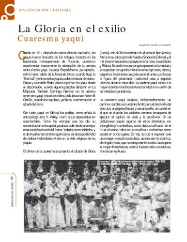 La Gloria en el exilio. Cuaresma yaqui