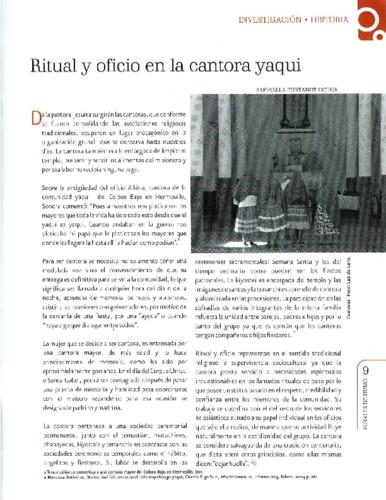 Ritual y oficio en la cantona yaqui