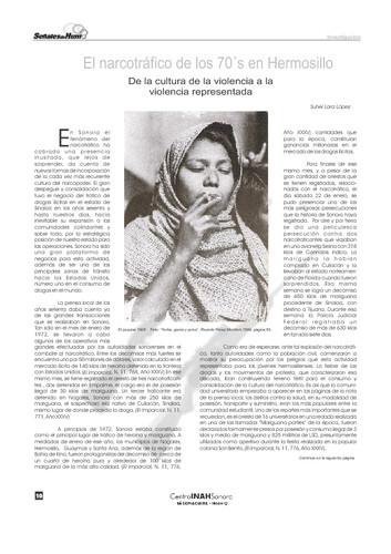 El narcotráfico de los 70´s en Hermosillo. De la cultura de la violencia a la violencia representada