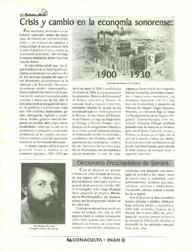 Crisis y cambio en la economía sonorense: 1900-1930
