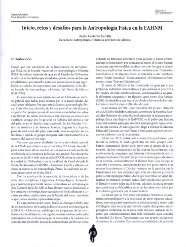 Inicio, retos y desafíos para la Antropología Física en la EAHNM