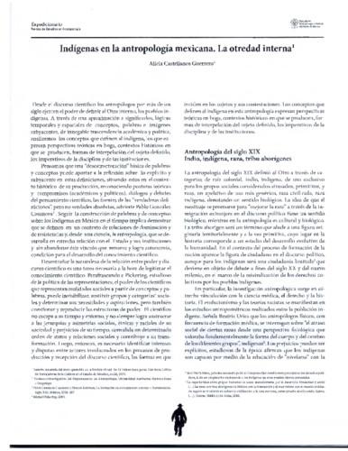 Indígenas en la antropología mexicana. La otredad interna