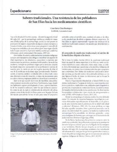 Saberes tradicionales. Una resistencia de los pobladores de San Elías hacia los medicamentos científicos