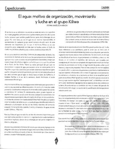El agua: motivo de organización movimiento y lucha en el grupo Kiliwa