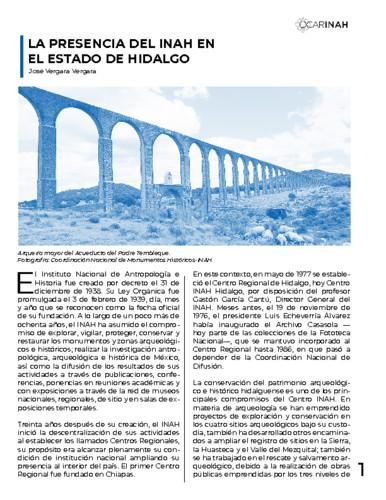 La presencia del INAH en el Estado de Hidalgo