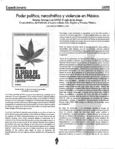 Poder político, narcotráfico y violencia en México