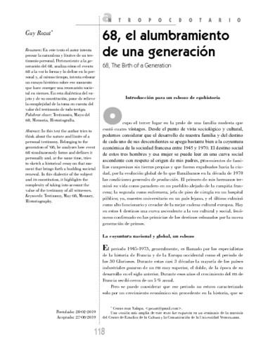 68, el alumbramiento de una generación