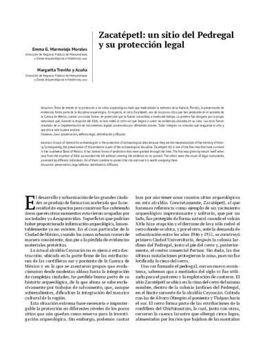 Zacatépetl: un sitio del Pedregal y su protección legal