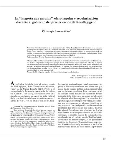 """La """"langosta que arruina"""": clero regular y secularización durante el gobierno del primer conde de Revillagigedo"""