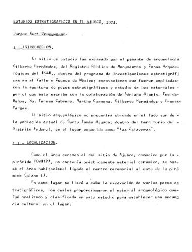 Estudios estratigráficos en el Ajusco, 1974