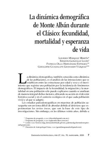 La dinámica demográfica de Monte Albán durante el Clásico: fecundidad, mortalidad y esperanza de vida