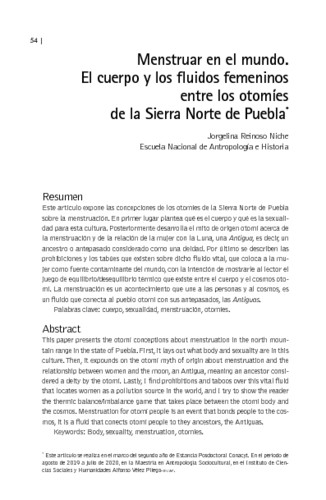 Menstruar en el mundo. El cuerpo y los fluidos femeninos entre los otomíes de la Sierra Norte de Puebla