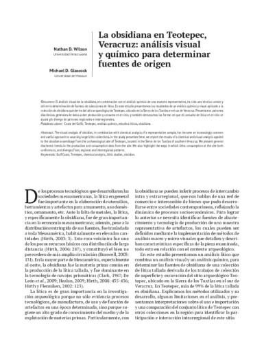 La obsidiana en Teotepec, Veracruz: análisis visual y químico para determinar fuentes de origen