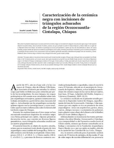Caracterización de la cerámica negra con incisiones de triángulos achurados de la región Ocozocoautla- Cintalapa, Chiapas