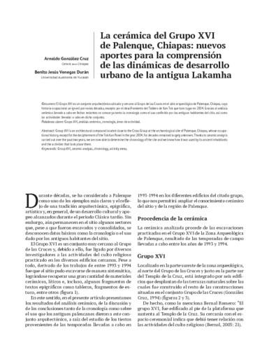 La cerámica del Grupo XVI de Palenque, Chiapas: nuevos aportes para la comprensión de las dinámicas de desarrollo urbano de la antigua Lakamha