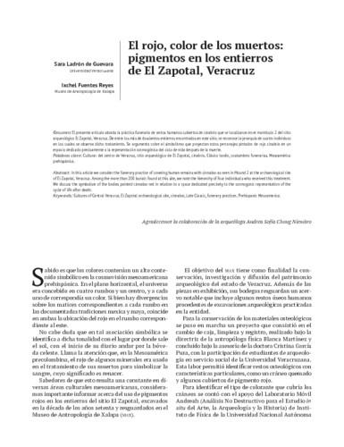 El rojo, color de los muertos: pigmentos en los entierros de El Zapotal, Veracruz