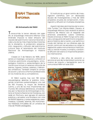 INAH Tlaxcala Informa. 82 Aniversario del INAH