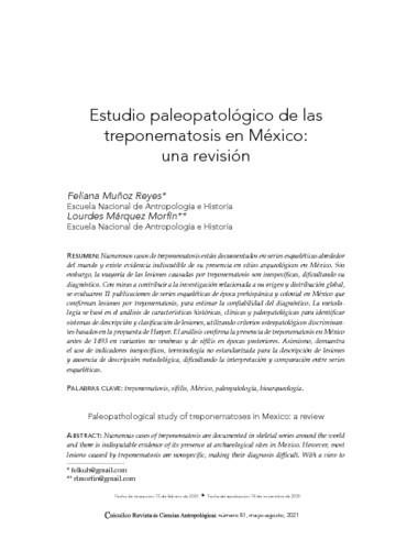 Estudio paleopatológico de las treponematosis en México: una revisión
