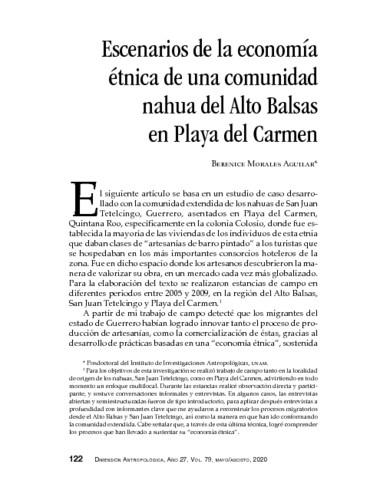 Escenarios de la economía étnica de una comunidad nahua del Alto Balsas en Playa del Carmen