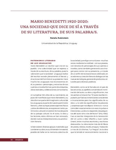 Mario Benedetti 1920-2020: Una sociedad que dice sí a través de su literatura, de su/s palabras/s