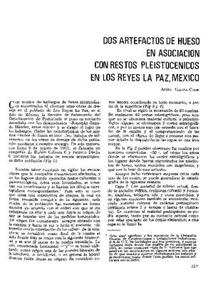Dos artefactos de hueso en asociación con restos pleistocénicos en Los Reyes La Paz, México.