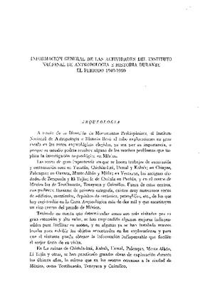 Información general de las actividades del Instituto Nacional de Antropología e Historia durante el periodo 1949-1950.