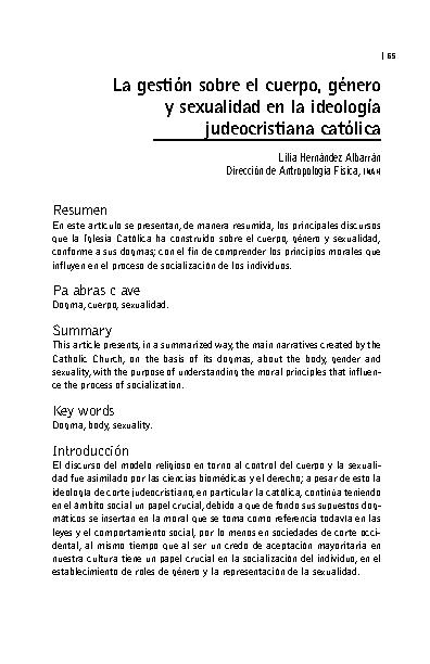 La gestión sobre el cuerpo, género y sexualidad en la ideología judeocristiana católica